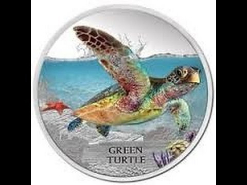 2014 Tuvalu Silver 1 Oz Green Sea Turtle Coin