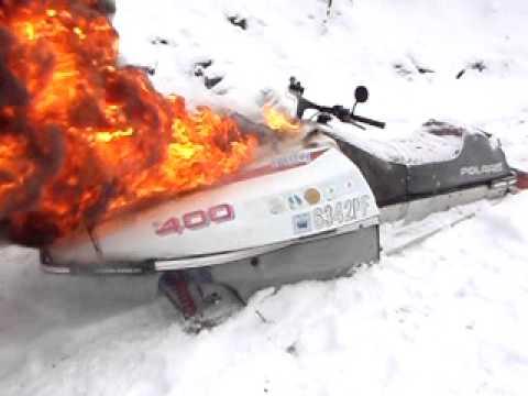 Snowmobile burning YouTube