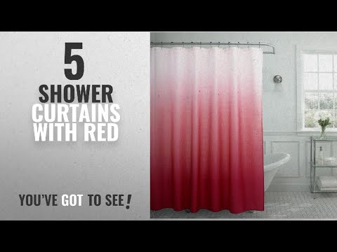 Top 10 Shower Curtains With Red [2018]: Creative Home Ideas Ombre Textured Shower Curtain with