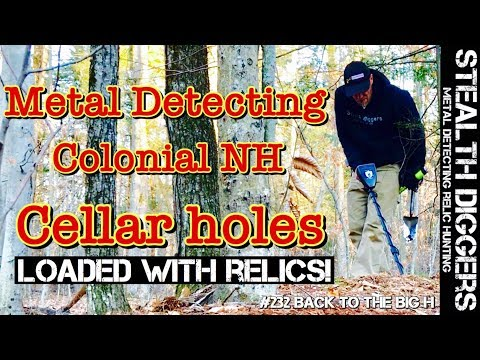 1700's Colonial cellar hole metal detecting NH #232 Back to the big H old homesite Garrett ATGOLD