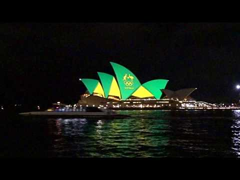 2016 Rio Olympics in Australia - Sydney Opera House light up in Green and Gold Colour