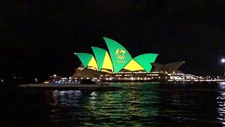 2016 Rio Olympics in Australia - Sydney Opera House light up in Green and Gold Colour thumbnail