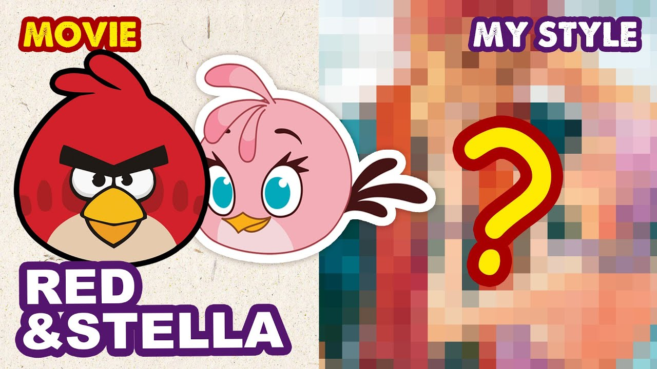 Drawing Angry Birds Characters: Red & Stella in my semi-realistic style | Huta Chan