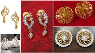 Latest gold stud earrings daily wear light weight Gold earrings designs