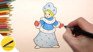 Как Нарисовать Снегурочку на новогоднюю открытку - рисуем поэтапно для начинающих(Как рисовать Снегурочку. В этом видео я показываю как нарисовать Снегурочку на новогоднюю открытку. Я рисую..., 2016-12-03T12:32:53.000Z)