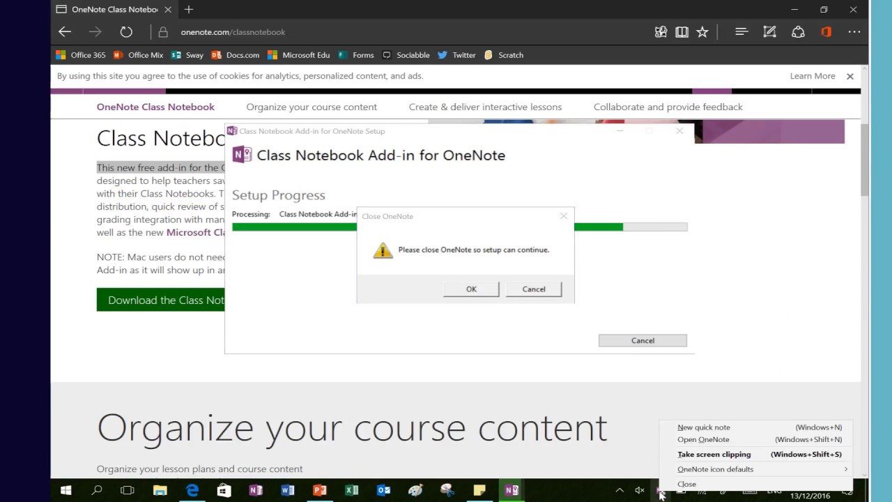 How to install the OneNote Class Notebook Add in