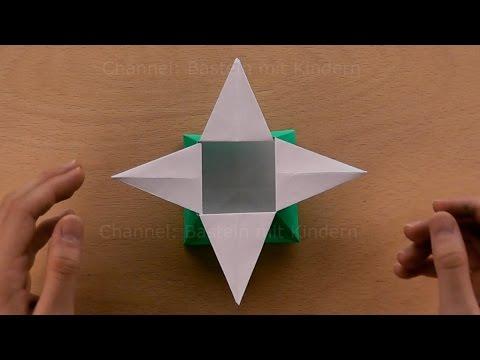 Origami Stern-Schachtel basteln mit Papier - Geschenkverpackung Weihnachten falten: Origami Box