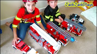 BEST Firefighter Costume Pretend Play Skits - Playing with Bruder Fire Trucks