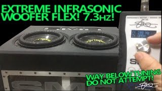 Extreme Infrasonic Subwoofer Flex! Bass Sweep Down to 7.3HZ! WAY BELOW TUNING DO NOT ATTEMPT!