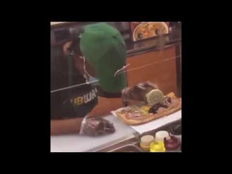 VIRAL SUBWAY sandwich maker falls asleep while making sandwich