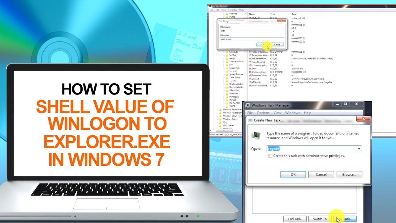 How to Set Shell Value of winlogon to explorer exe in Windows 7 | Computer  & Networking Basics