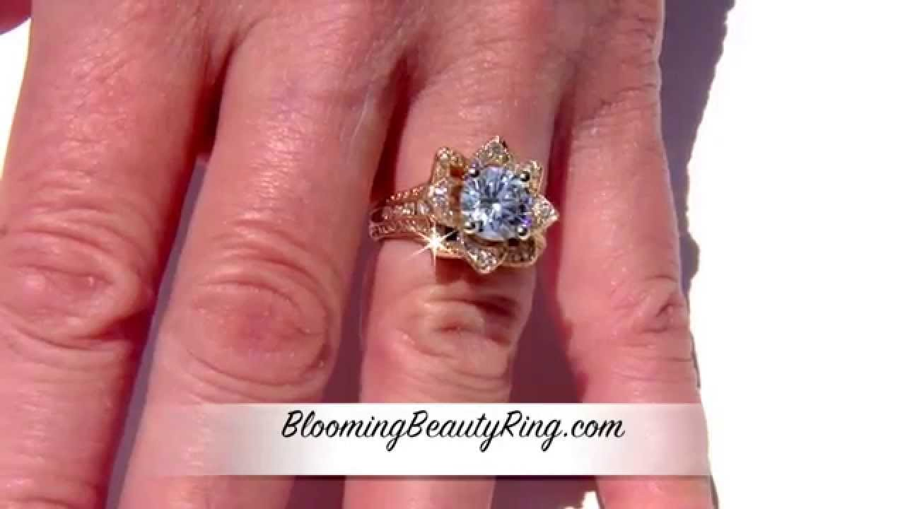 Unique Yellow Gold Large Original Blooming Beauty Engagement Ring ...