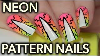 Neon patterned gradient nail art for summer!
