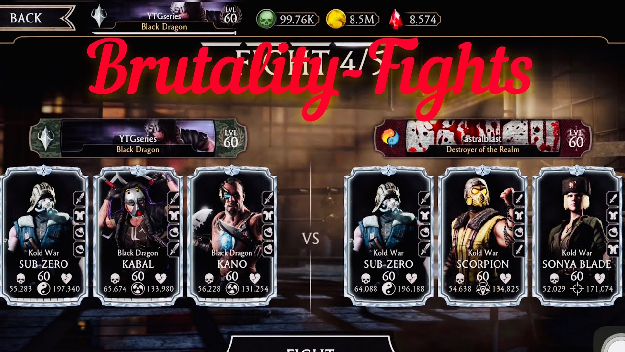 Brutalities.......Fights | Faction-War Battle Fight Mortal Kombat Mobile. FW Rank-Up
