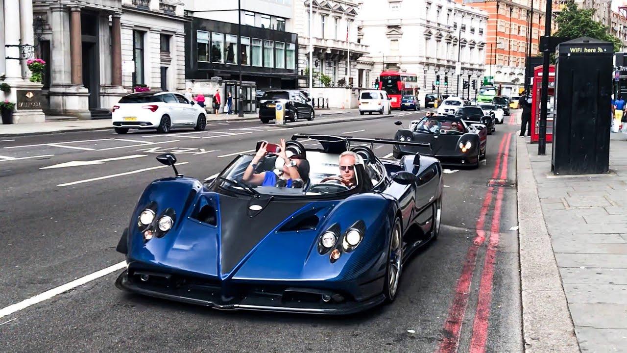 $15 million zonda hp barchetta leading pagani convoy in london