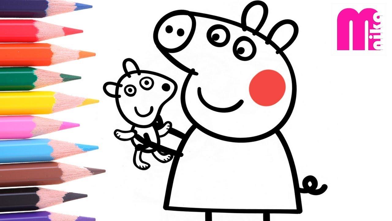 РАСКРАСКА для детей СВИНКА ПЕППА Как нарисовать ПЕППУ с ...