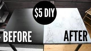 $5 DIY MARBLE DESK (EASY!)