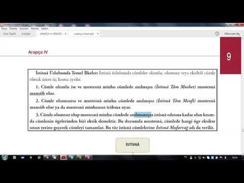 242) Anadolu Üni Arapça 4 Ünite 9 İSTİSNA