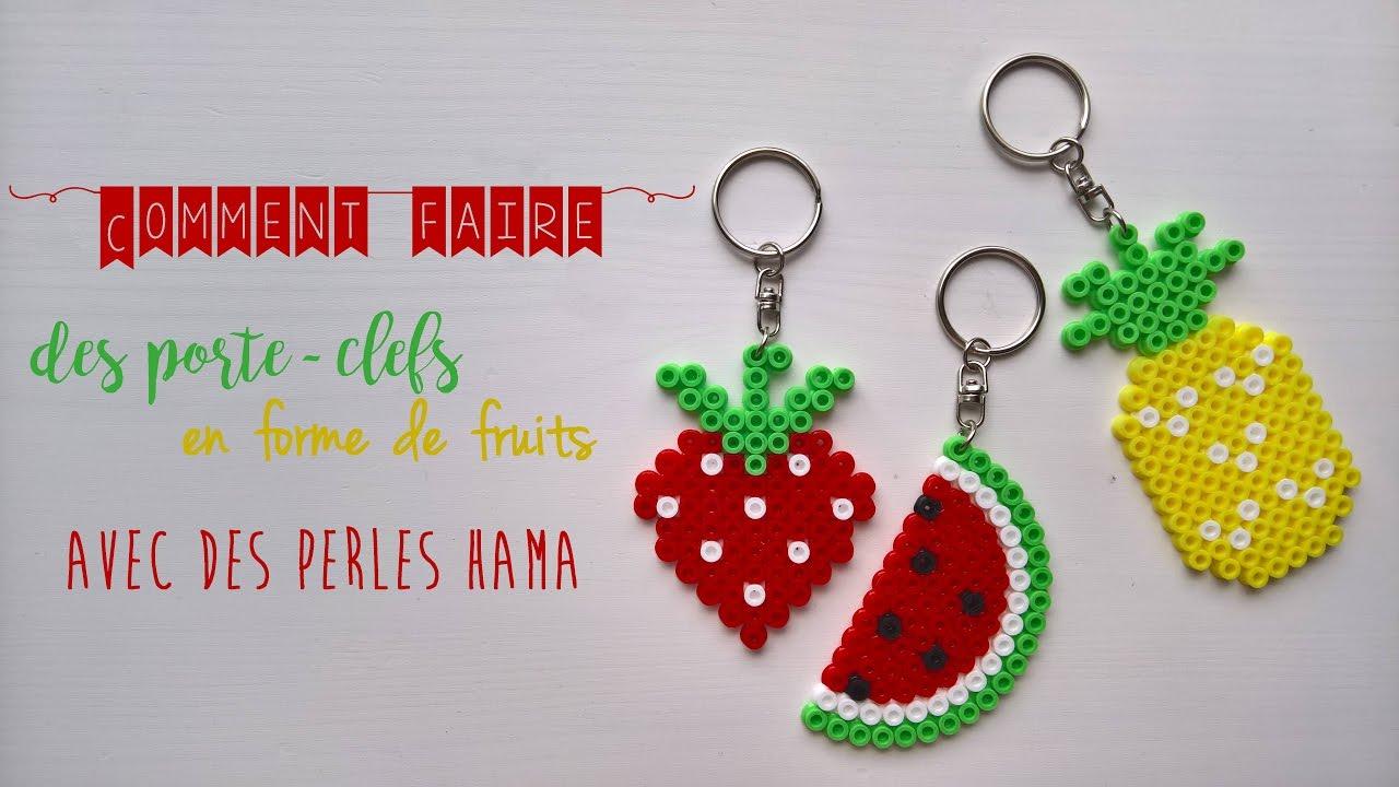 Fabriquer Porte Clé Facile [les tutos de loulou #3] comment faire des porte-clefs en forme de fruits  avec des perles hama ?