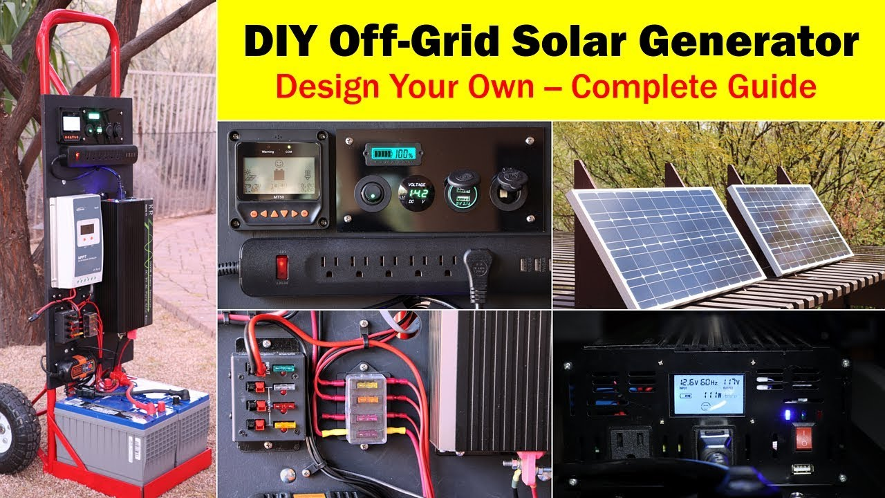 High-Capacity Off-Grid Solar Generator (rev 4) -- Wiring Diagram, Parts on