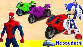 Человек паук с другом катаются на мотоциклах, мультики для детей, цветные машинки(Человек паук с другом катаются на мотоциклах, мультики для детей, цветные машинки песенки для детей песенк..., 2016-11-07T12:48:16.000Z)