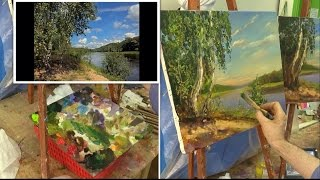Речка. Мастер-класс на двух холстах. Oil painting. Workshop on two canvases. River.