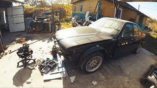 BMW e34 540i Сборка морды, установка нового крыла, обзор новых запчастей #43