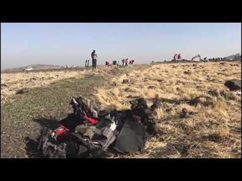 Watch: Wreckage at Ethiopia plane crash site