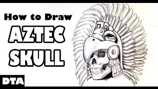 Drawing an Aztec Skull - Draw Tattoo Art