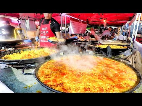 London Street Food at Notting Hill. Roast from Transylvania, Giant Paellas from Spain and Much More