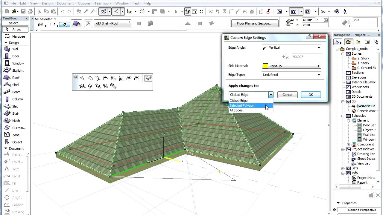 Complex Roofs In Archicad Editing Individual Roof Planes