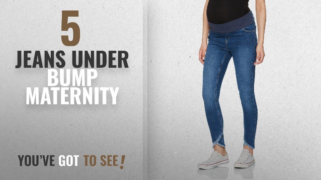 97bdd28d36a56 Top 10 Jeans Under Bump Maternity [2018]: New Look Maternity Women Under  Bump Frey Hem Skinny Jeans