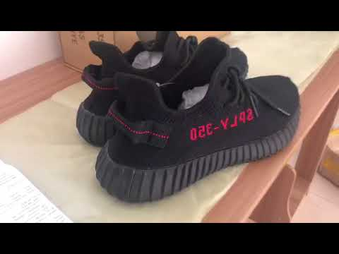 7b7399cca Best replica Adidas Yeezy boost 350 v2 Black red - YouTube