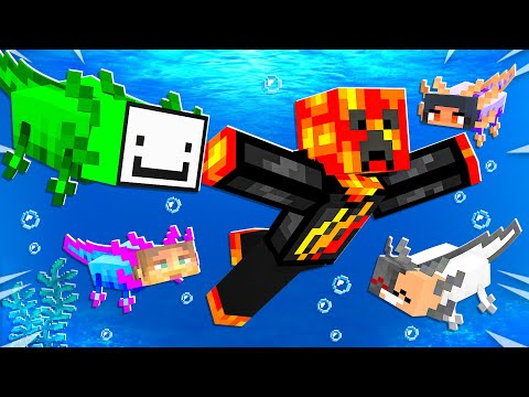 Minecraft but YouTubers are Axolotls...
