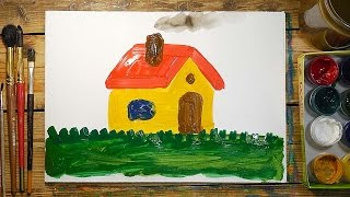 Как нарисовать Дом красками | Простые рисунки красками | Урок рисования для детей