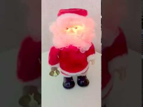 Santa Claus Battery Op Walking Musical Toy 3 Songs Lights Up Vintage