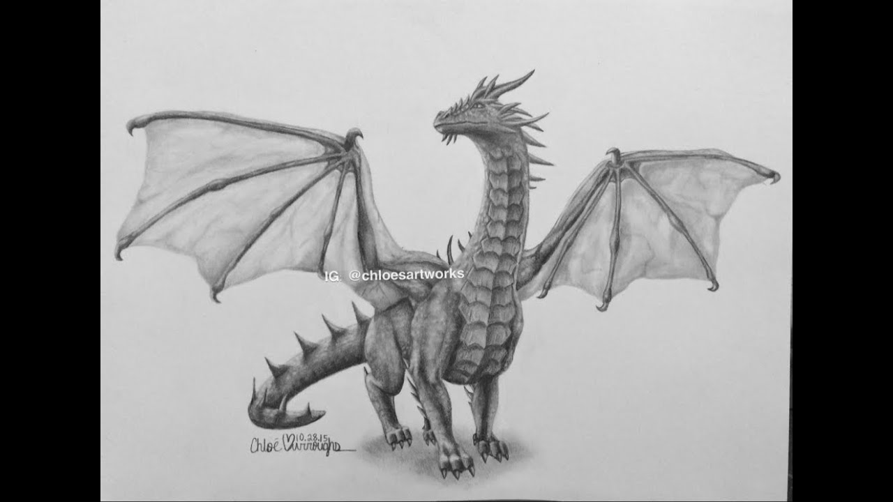 Realistic dragon speed drawing