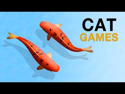 เกมส์แมว จับปลาคราฟ ปลาให้แมวดู  บนหน้าจอ สำหรับแมว