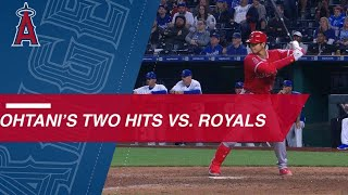 Ohtani's two hits, including first MLB double, vs. KC