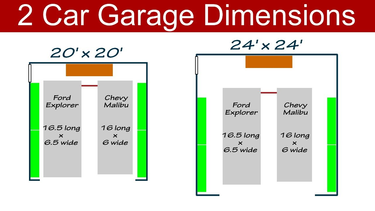 Ideal 2 car garage dimensions youtube for Garage bay size