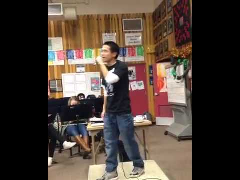 Rap Artist Eric Sho performing at Aragon High School Band Class Nov 1st 2017