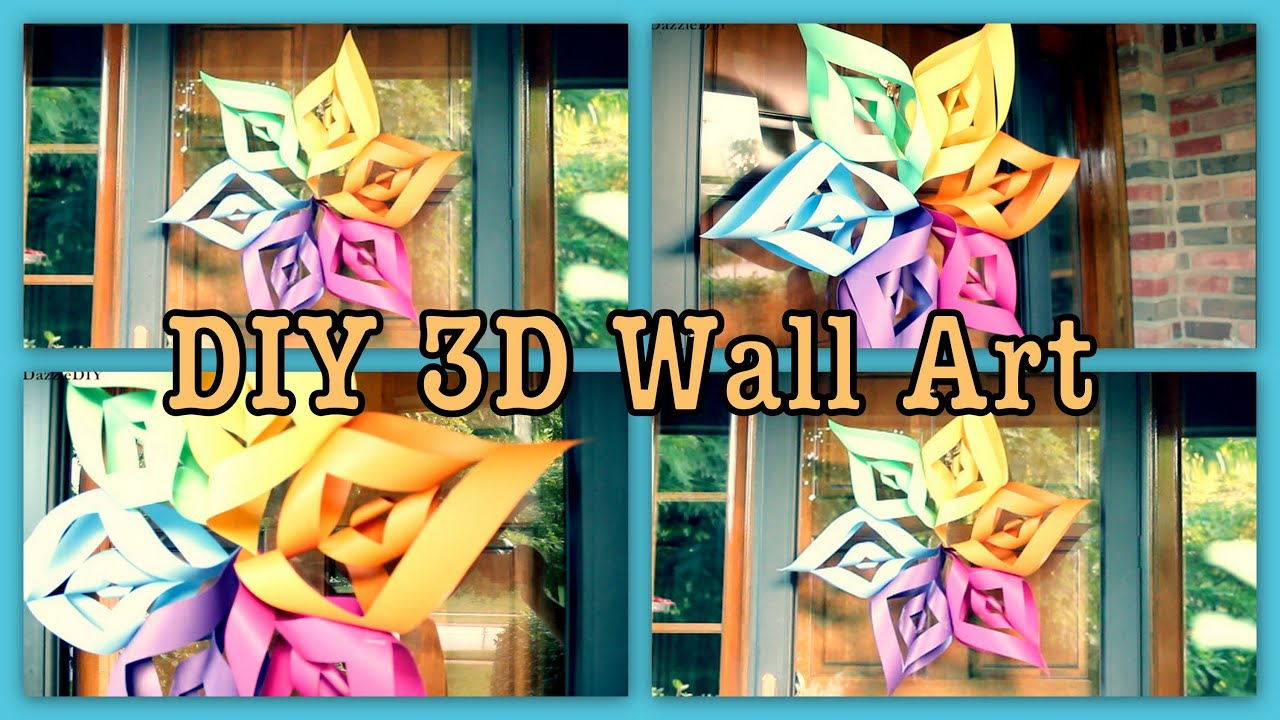 Diy 3d wall art flower youtube for Diy 3d art