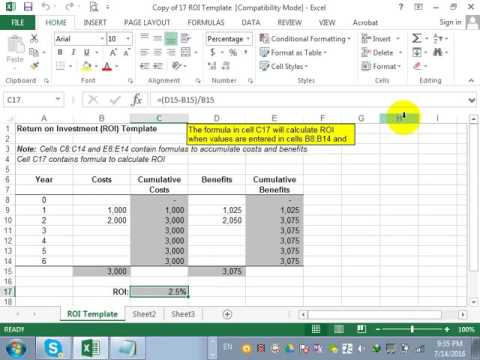 how to use roi in excel youtube. Black Bedroom Furniture Sets. Home Design Ideas