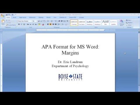APA Format for Microsoft Word: Margins