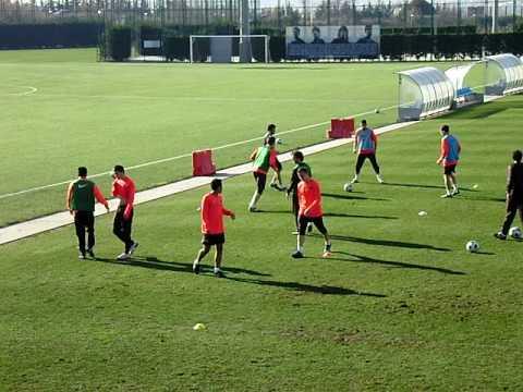 Entrenamiento del Barça B.