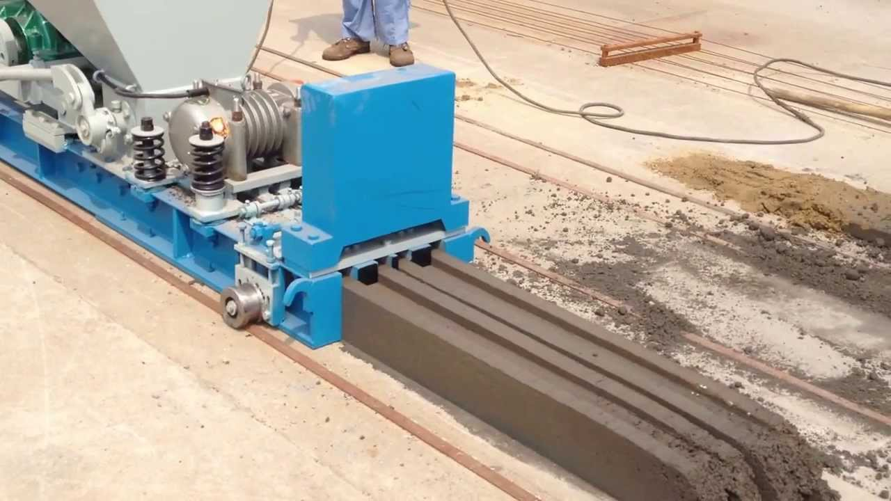 Concrete Extrusion Machine : Video on extrusion of prestressed precast concrete hollow