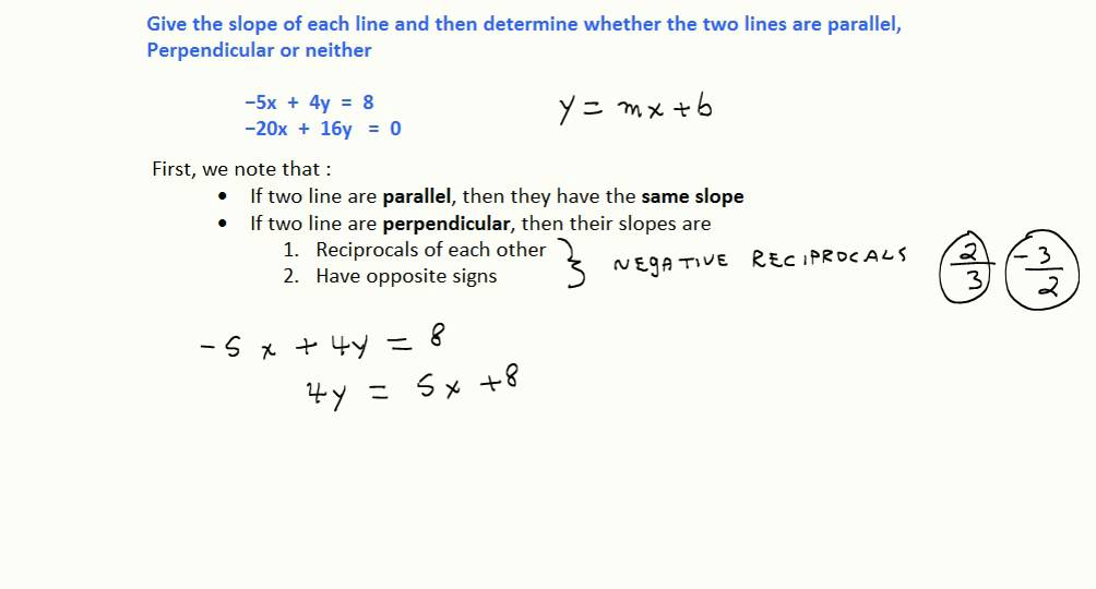 Determine If Two Lines Are Parallel Perpendicular Or