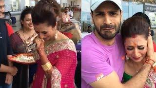 Crying Divyanka Tripathi's Bidaai At Airport   Wedding Video