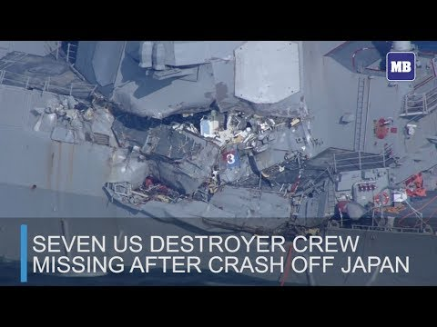 Seven US destroyer crew missing after crash off Japan