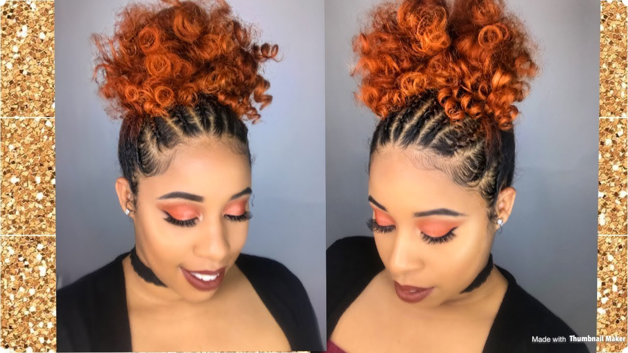 curly puff with front braids /natural hairstyle/camille rose naturals